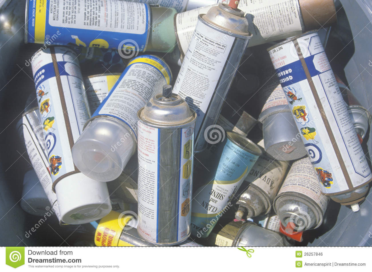 pile of aerosol cans waiting for safe disposal at a unocal station in. Black Bedroom Furniture Sets. Home Design Ideas