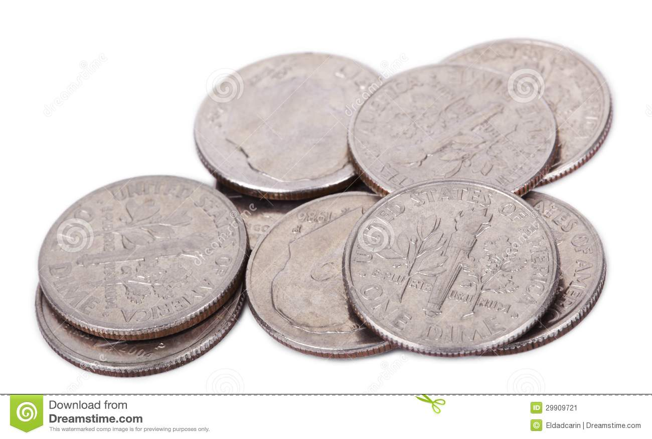 Isolated Pile Of US Dimes Stock Image - Image: 29909721