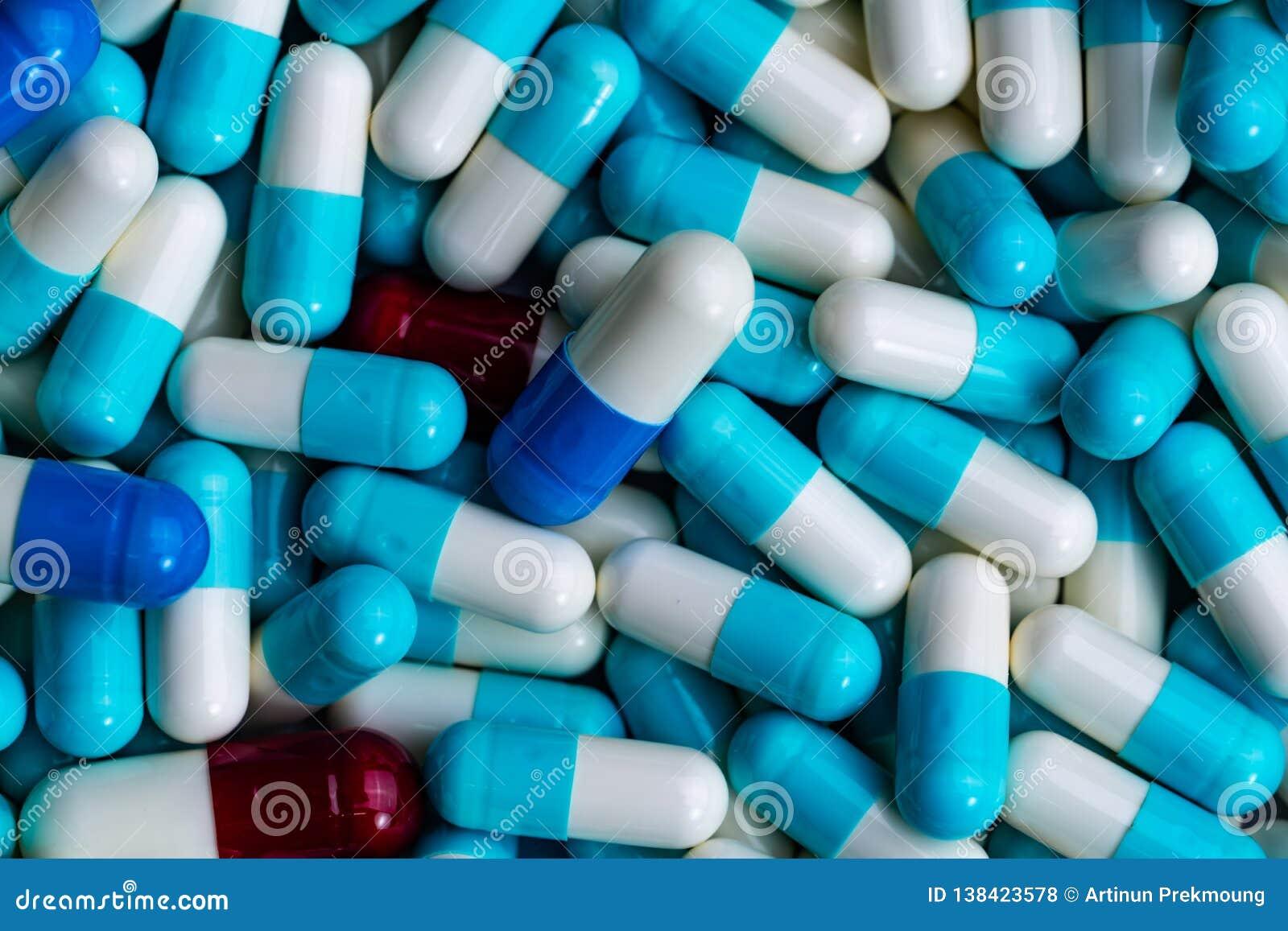 Pile of antibiotic capsule pills. Antibiotics drug resistance. Drug use with reasonable. Global healthcare concept. Antimicrobial