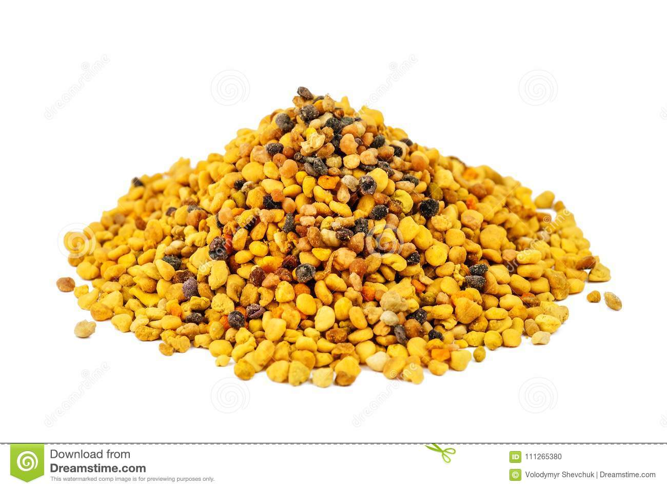 Pile of bee pollen on white