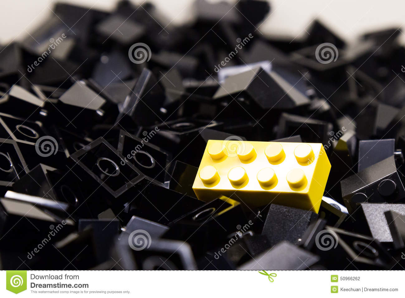 Pile of black color building blocks with selective focus for Black block