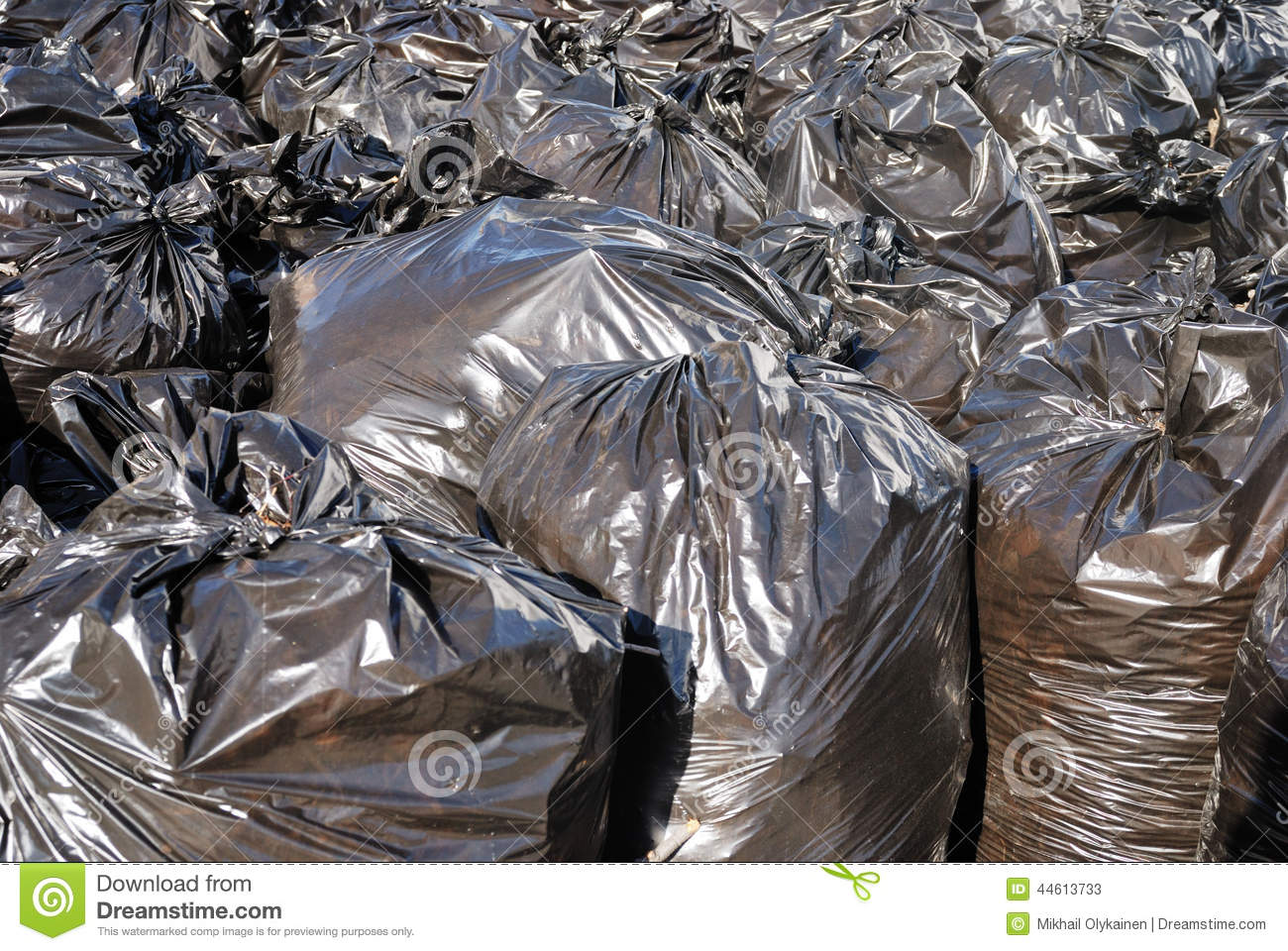 Pile Of Black Garbage Bags With Tons Of Trash, Horizontal ...