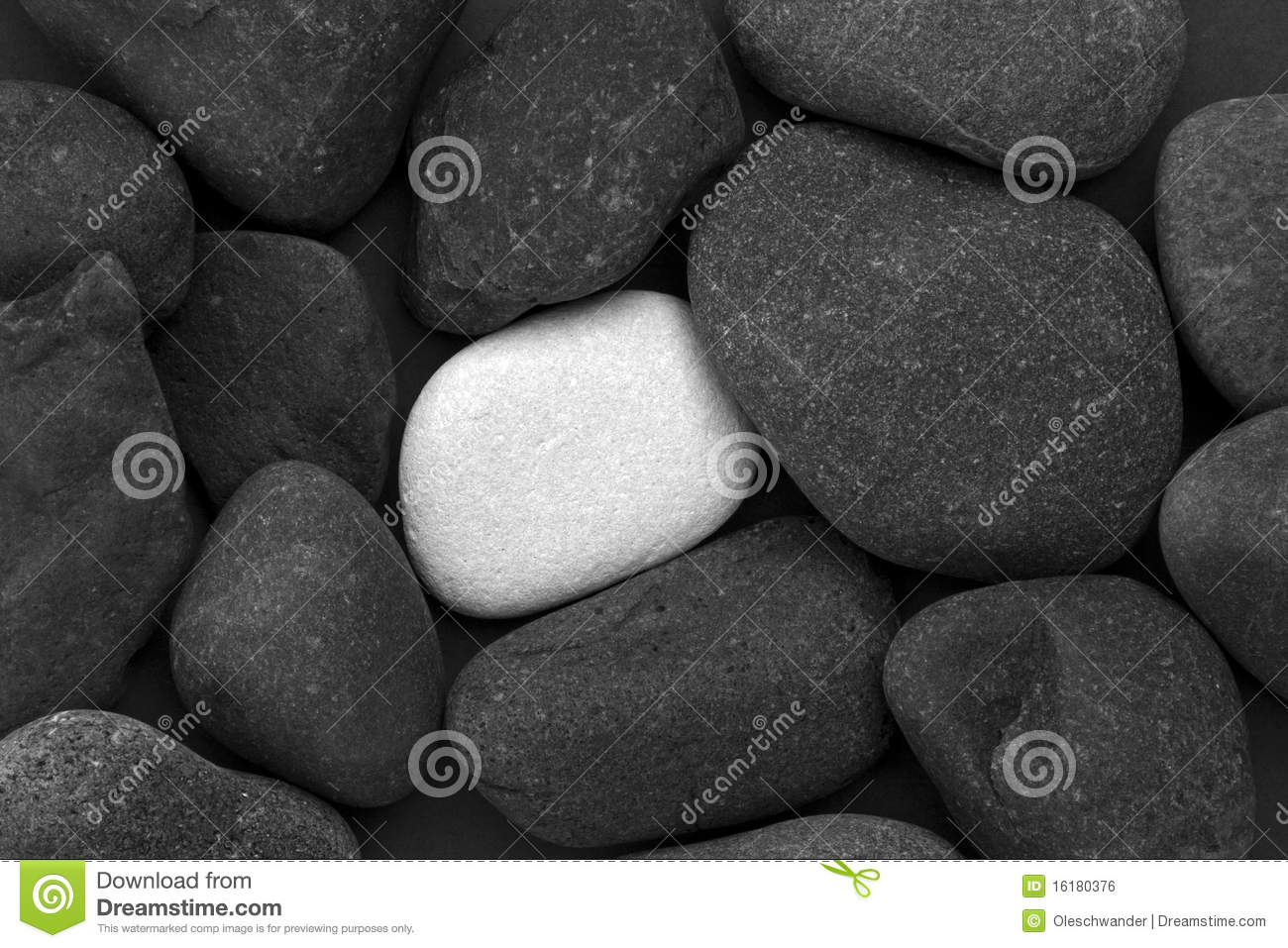 Pile of black stones and one white stone
