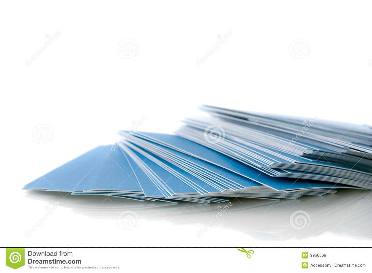 Pile Of Blue Business Cards Stock Photo - Image of bunch, batch: 9966868
