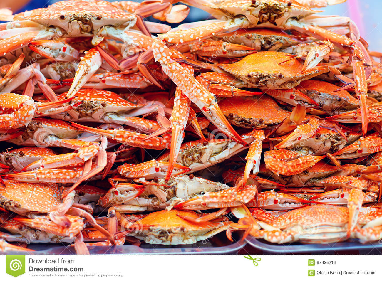 A Pile Of Boiled Blue Crabs On Street Market Stock Photo