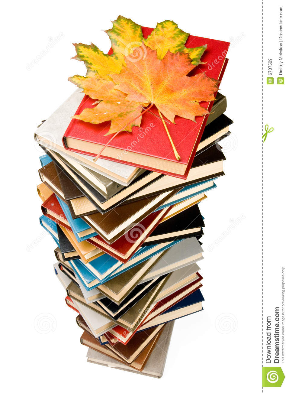 pile of books and autumn leaves royalty free stock images