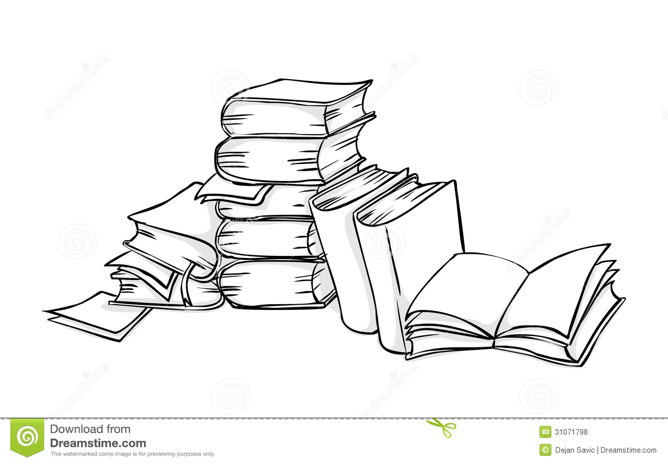 Line Art Book : Pile of books stock illustration