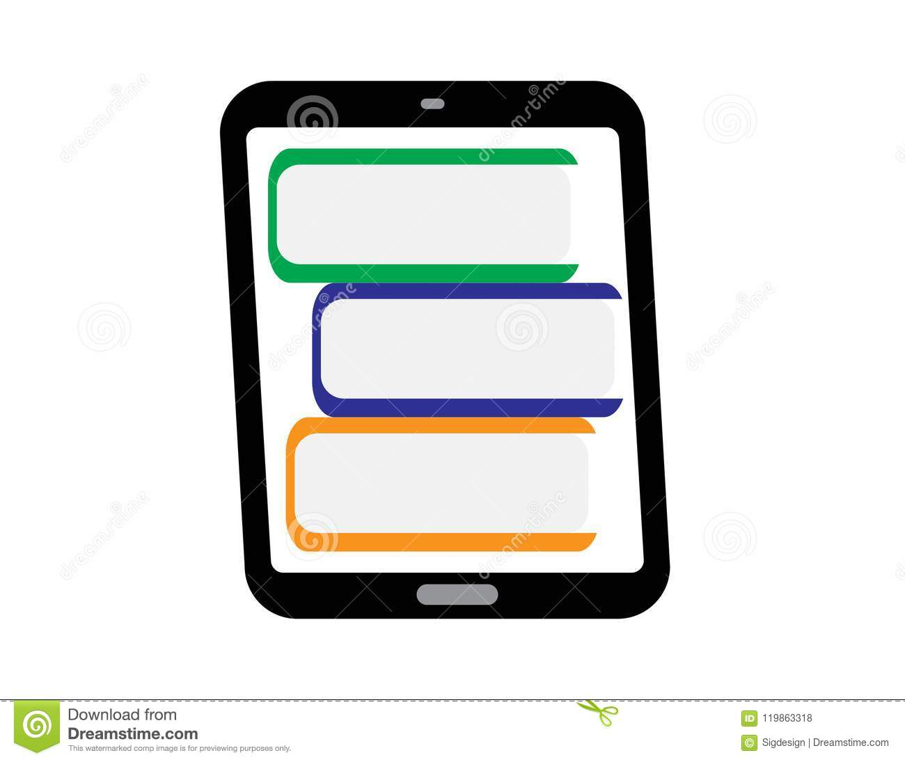 Digital Book Icon Ebook Reader With Books Stock Vector
