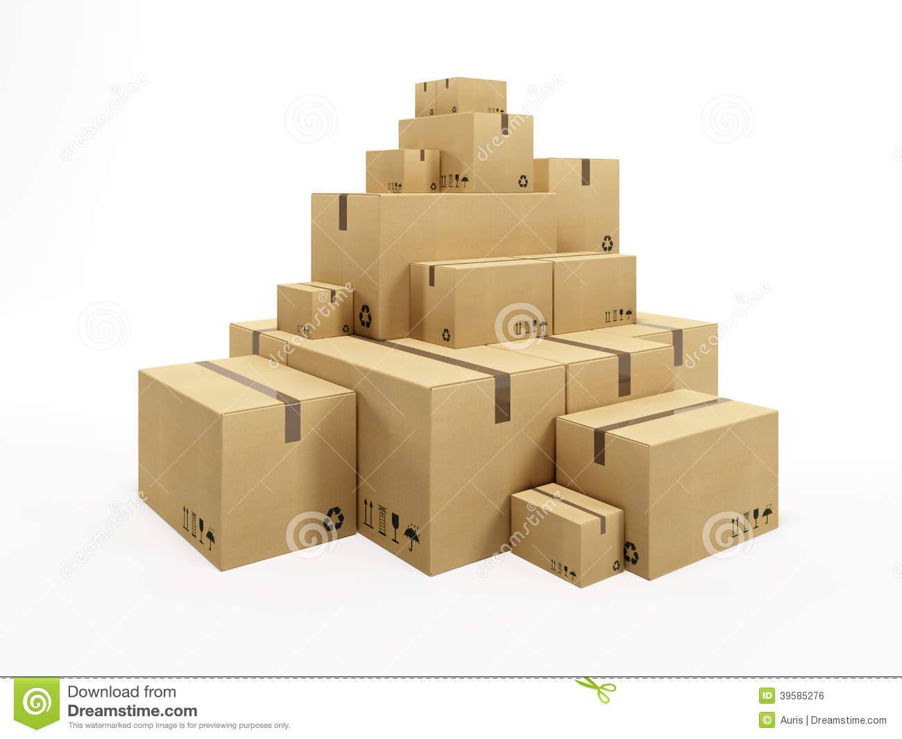 Pile of cardboard box stock illustration