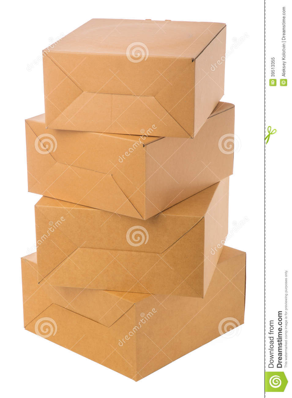 Pile of cardboard boxes over white background.