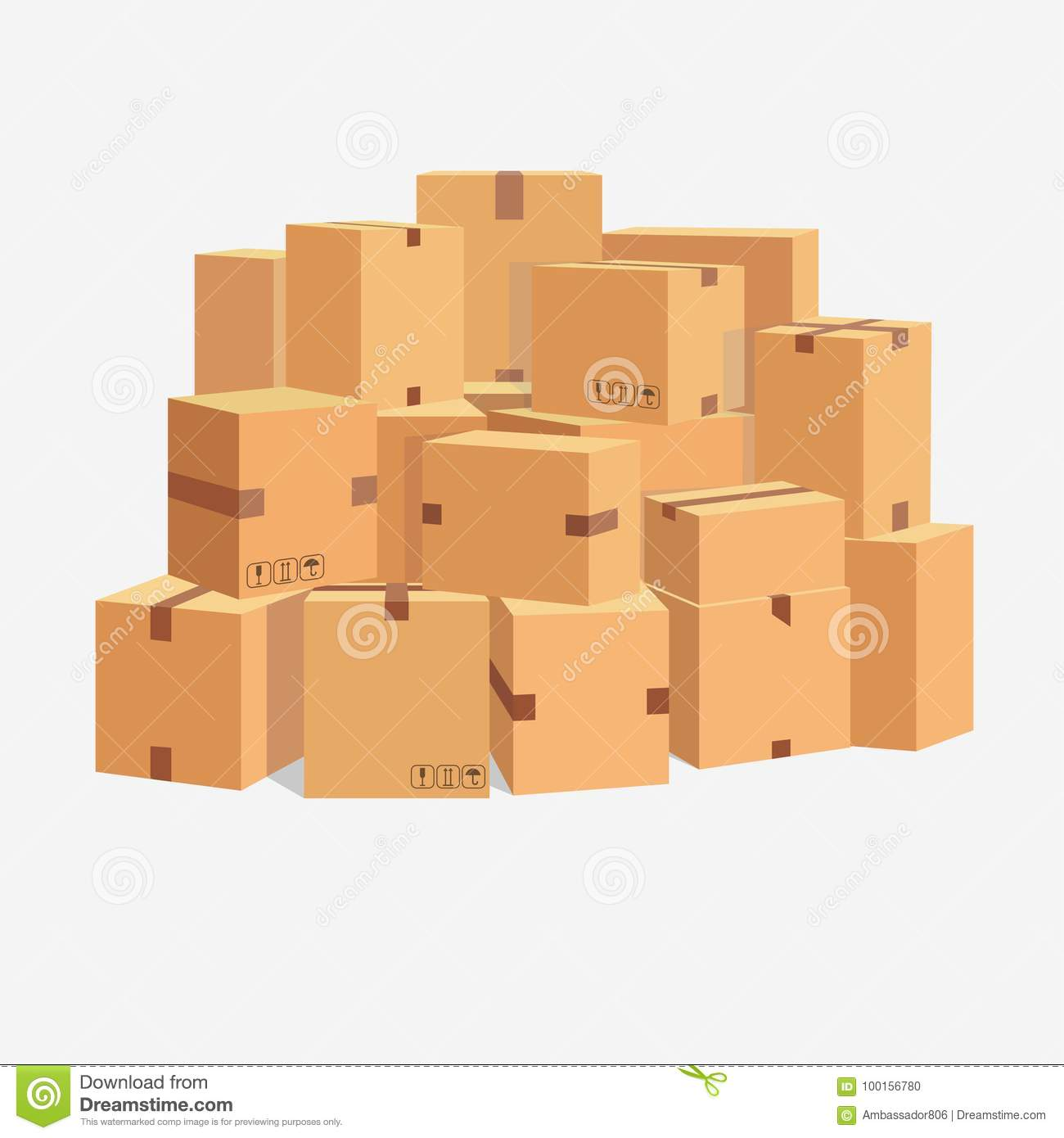 Pile of cardboard boxes, stacked sealed goods. vector