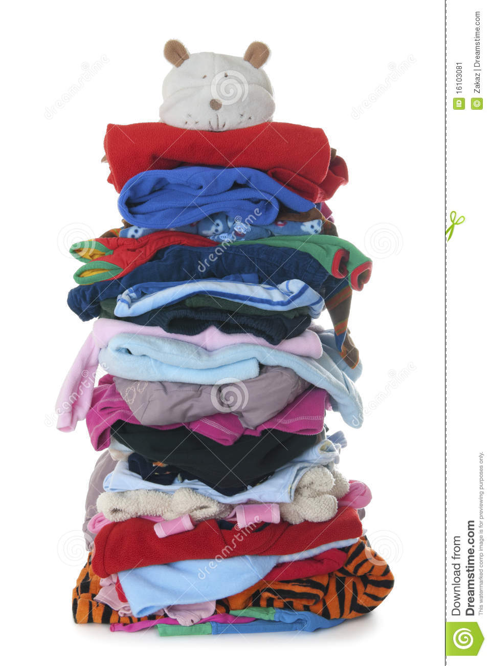 Pile Of Children S Warm Fluffy Clothes Isolated Stock