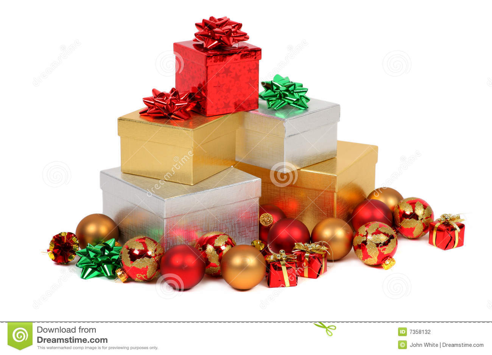 Pile of christmas gifts stock photo image