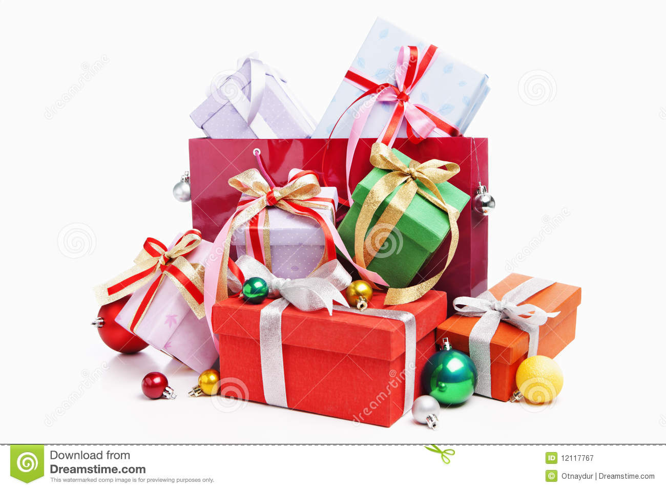 Pile Of Christmas Present With Shopping Bag Royalty Free Stock ...