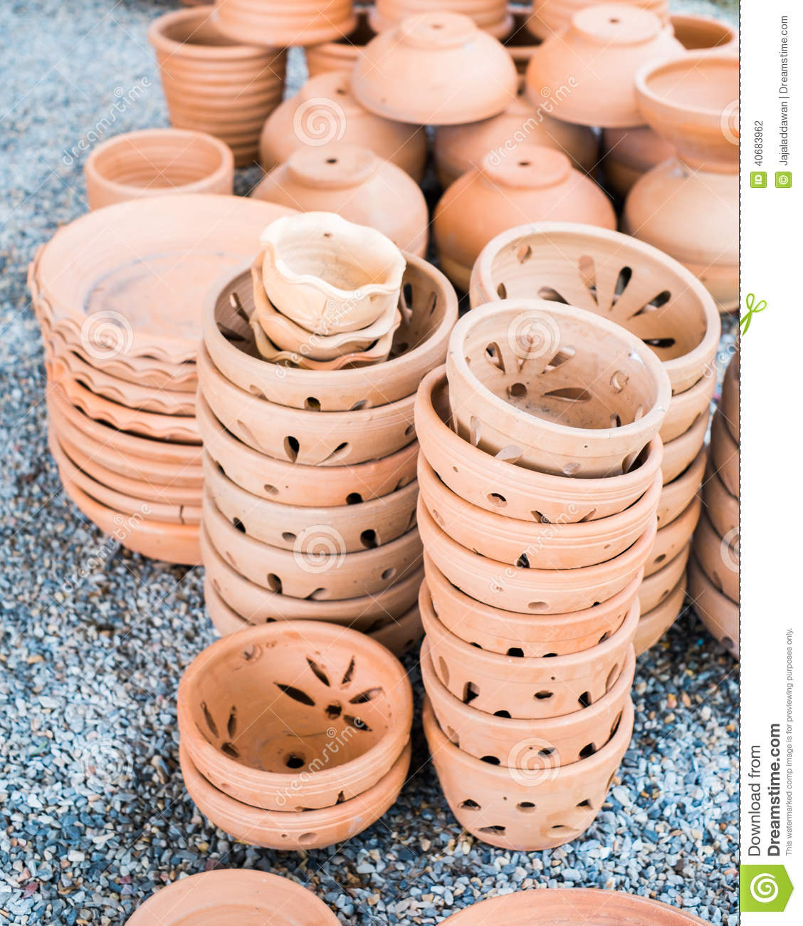 Pile of clay pots for plants