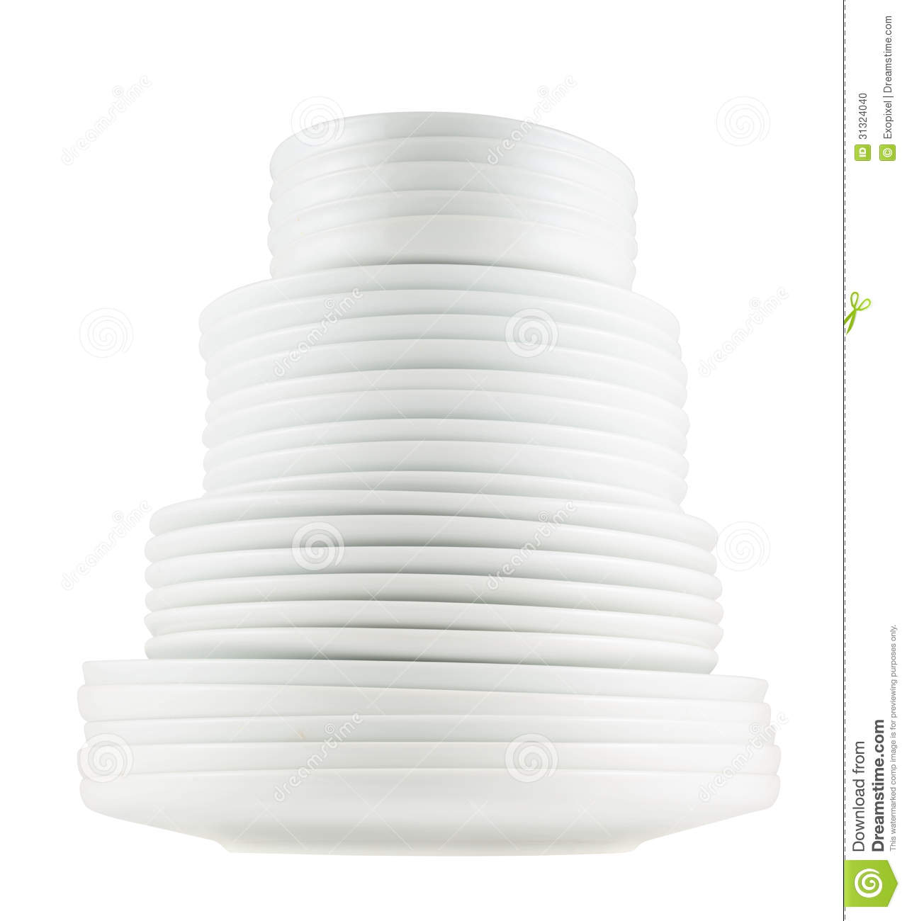 pile of clean white dish plates isolated stock photo. Black Bedroom Furniture Sets. Home Design Ideas