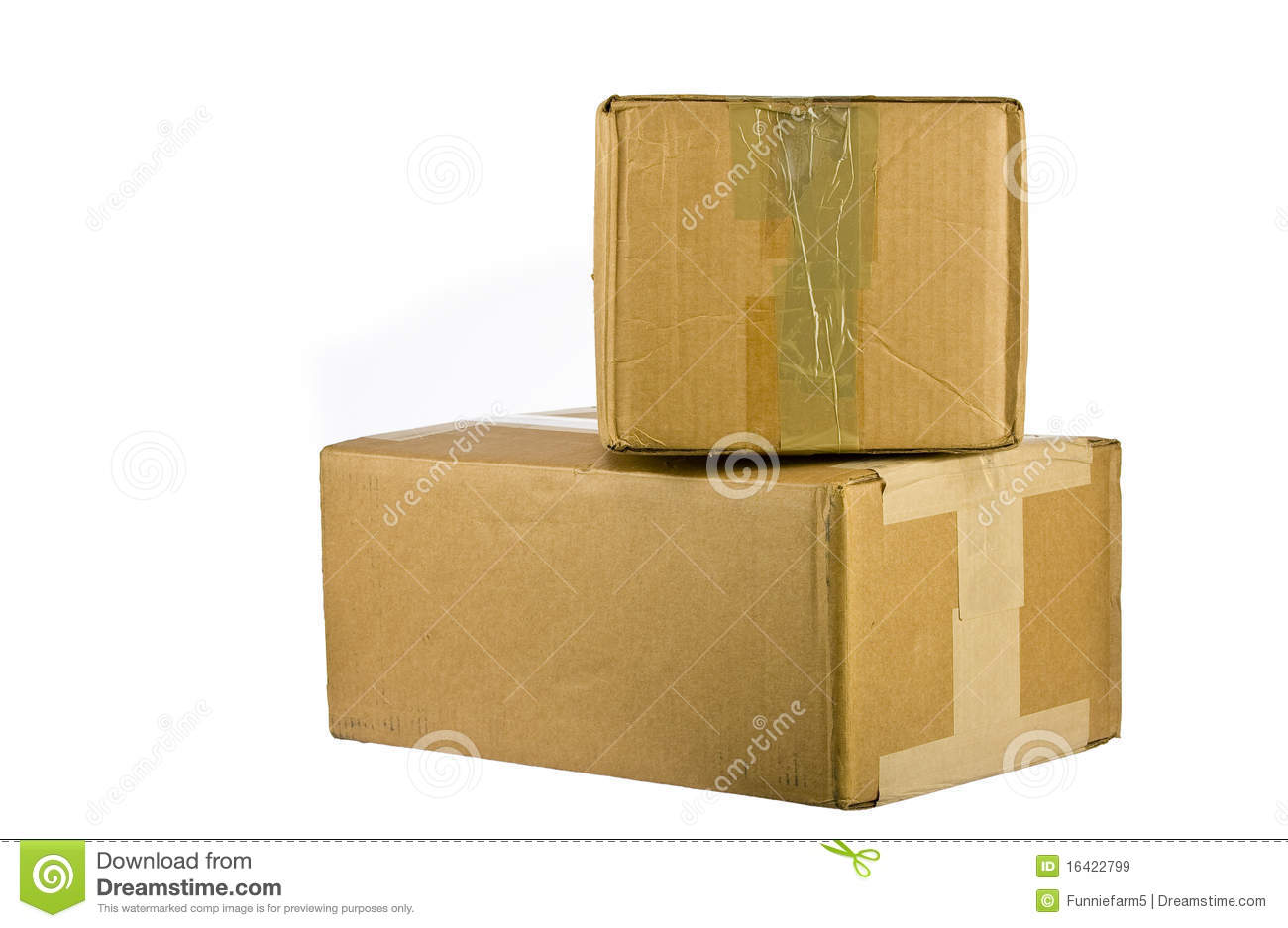 Pile of closed cardboard boxes on white royalty free stock