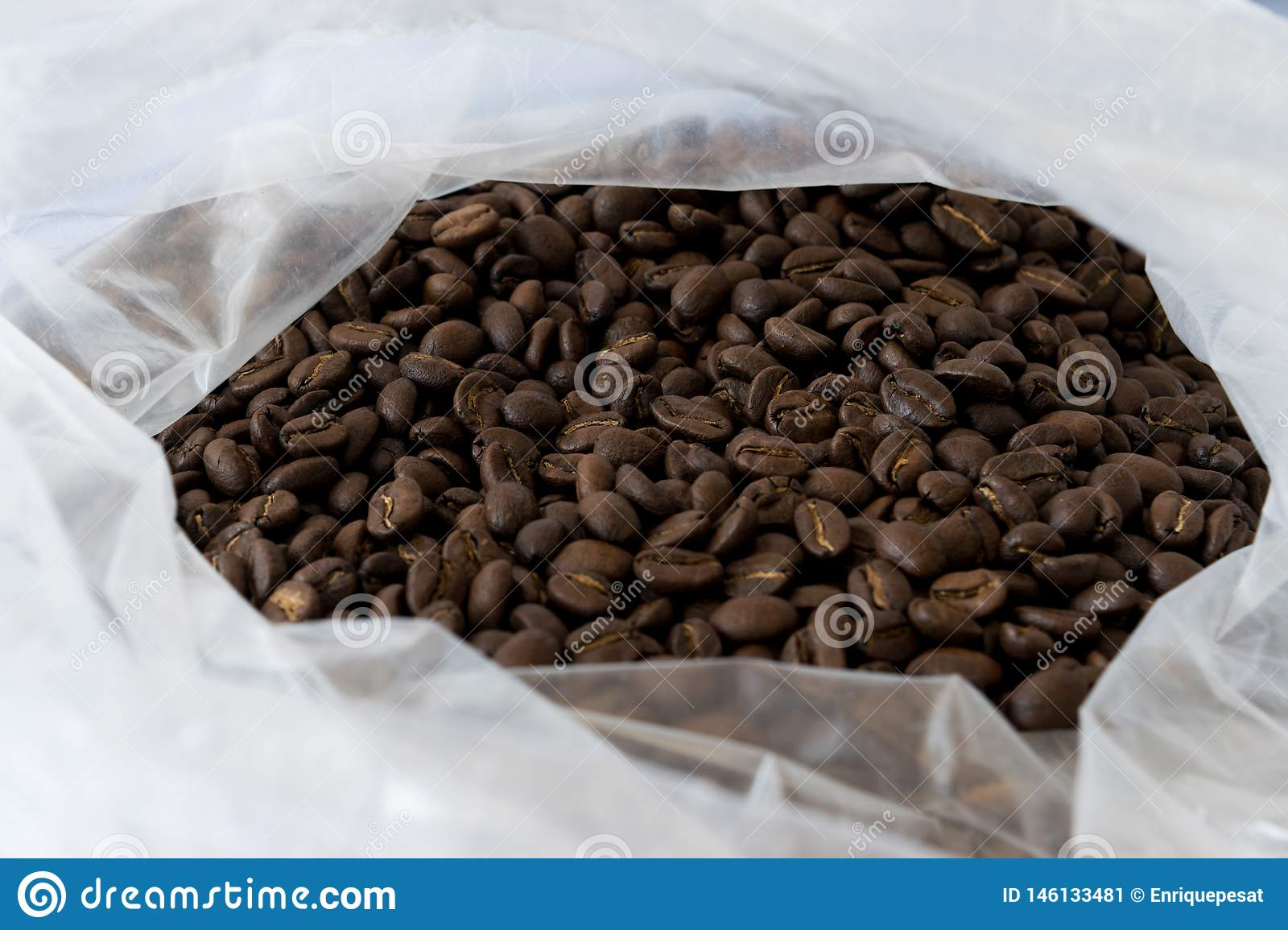 Pile of coffee beans in the bag