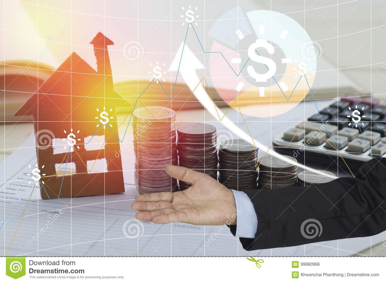 Buying home on loan or rent concept using model house, calculator.