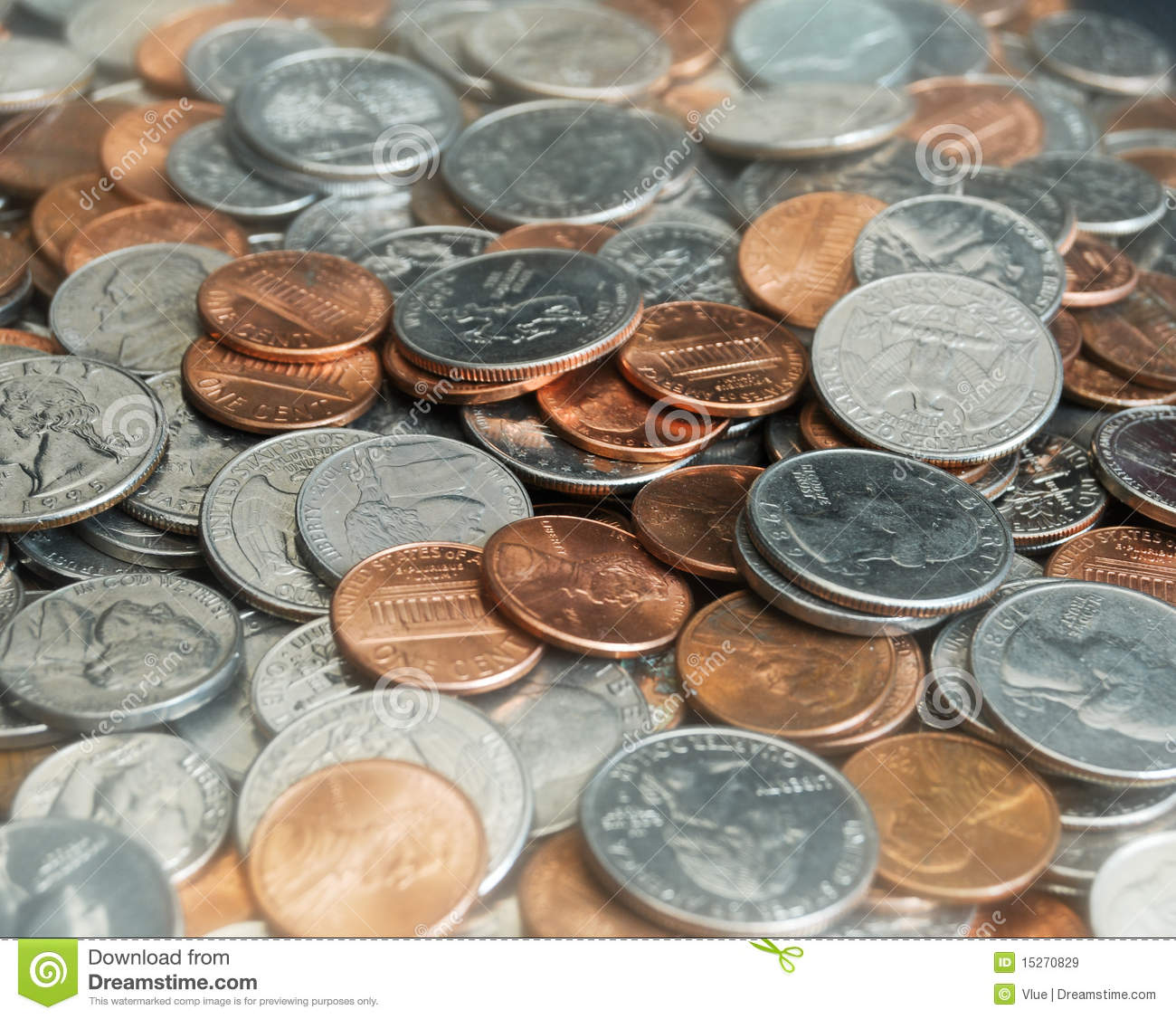 Pile Of Coins And Change Royalty Free Stock Images - Image: 15270829