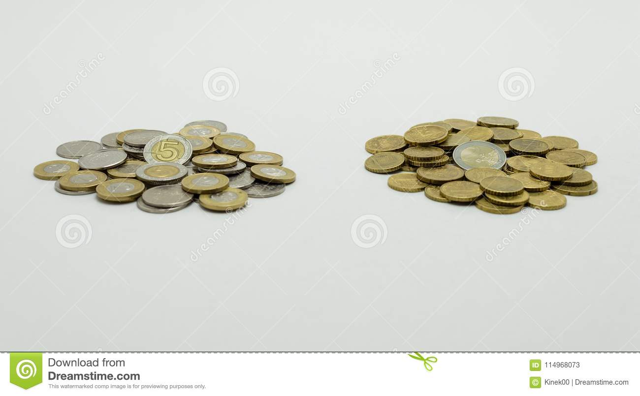 A Pile Of Coins The Polish Currency Pln Polish Zloty And The