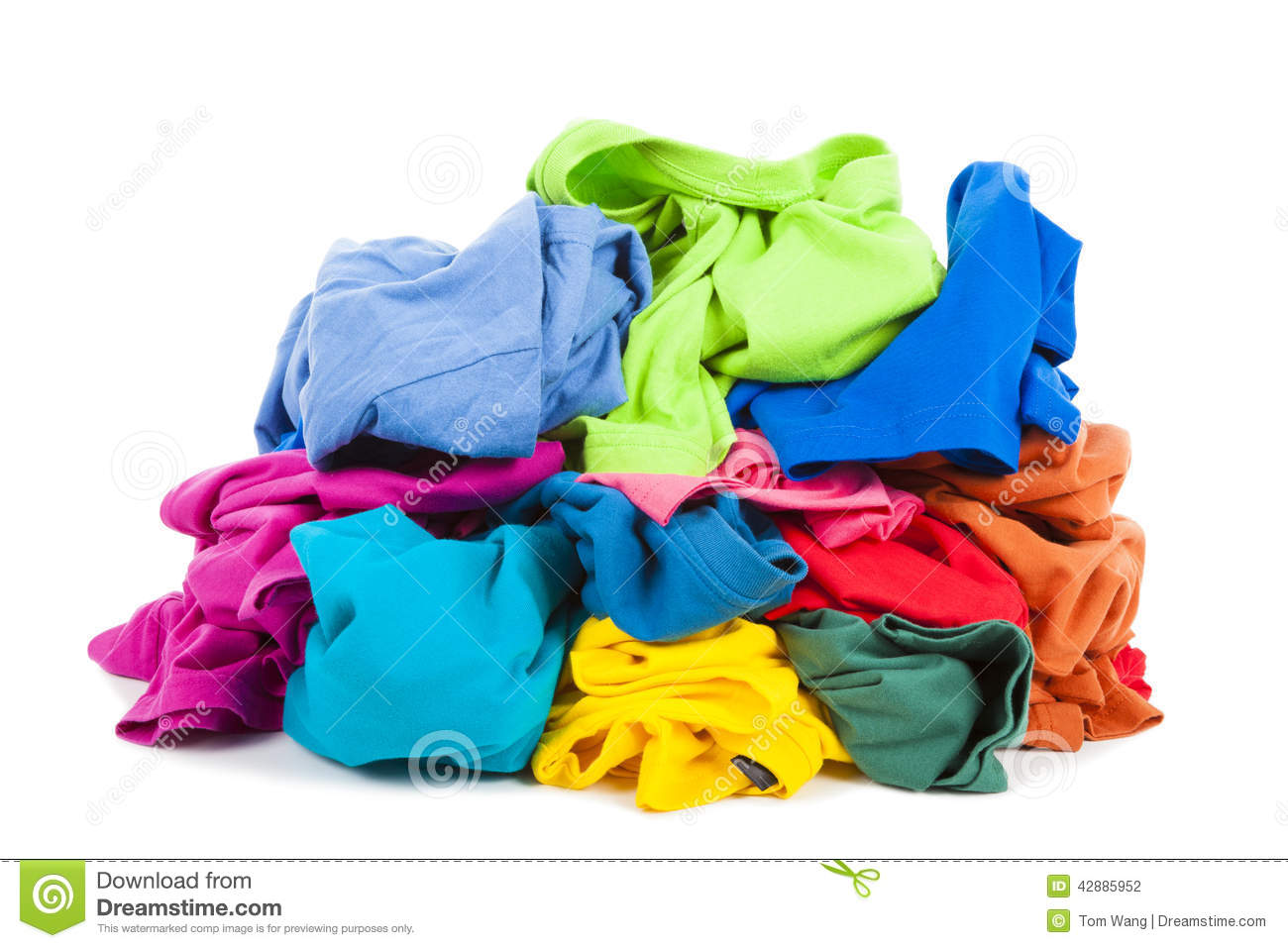 A pile of colorful clothes on the floor stock photo for On the floor