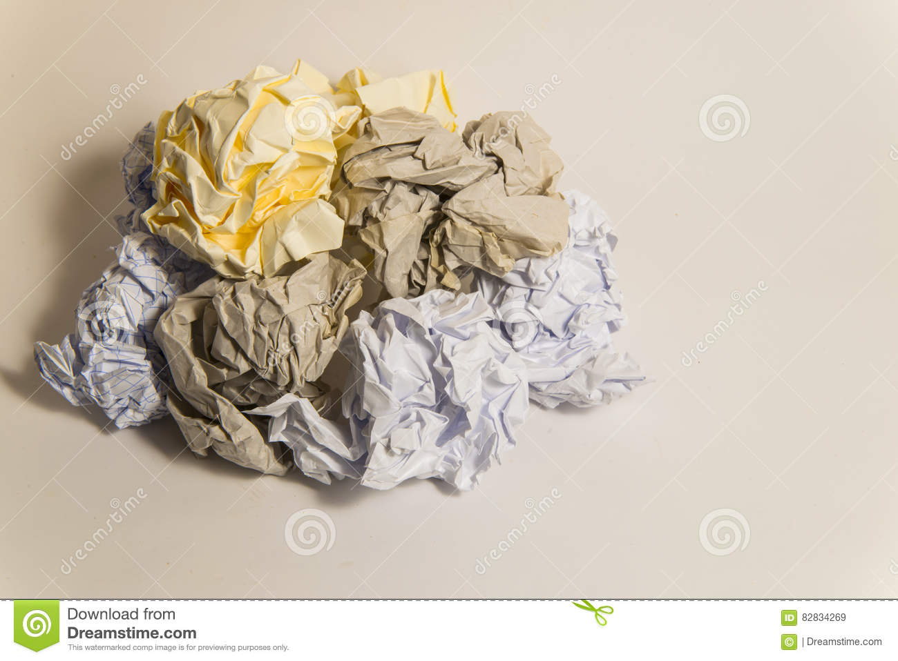 pile of colorful crumpled paper balls stock image - image of folded