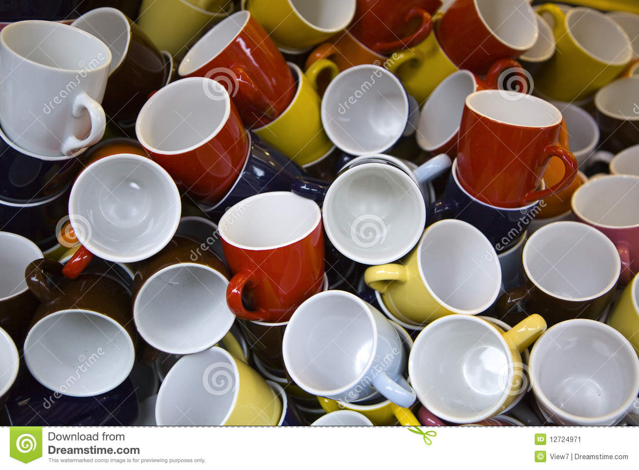 pile of colorful cups or mugs stock image image of empty closeup