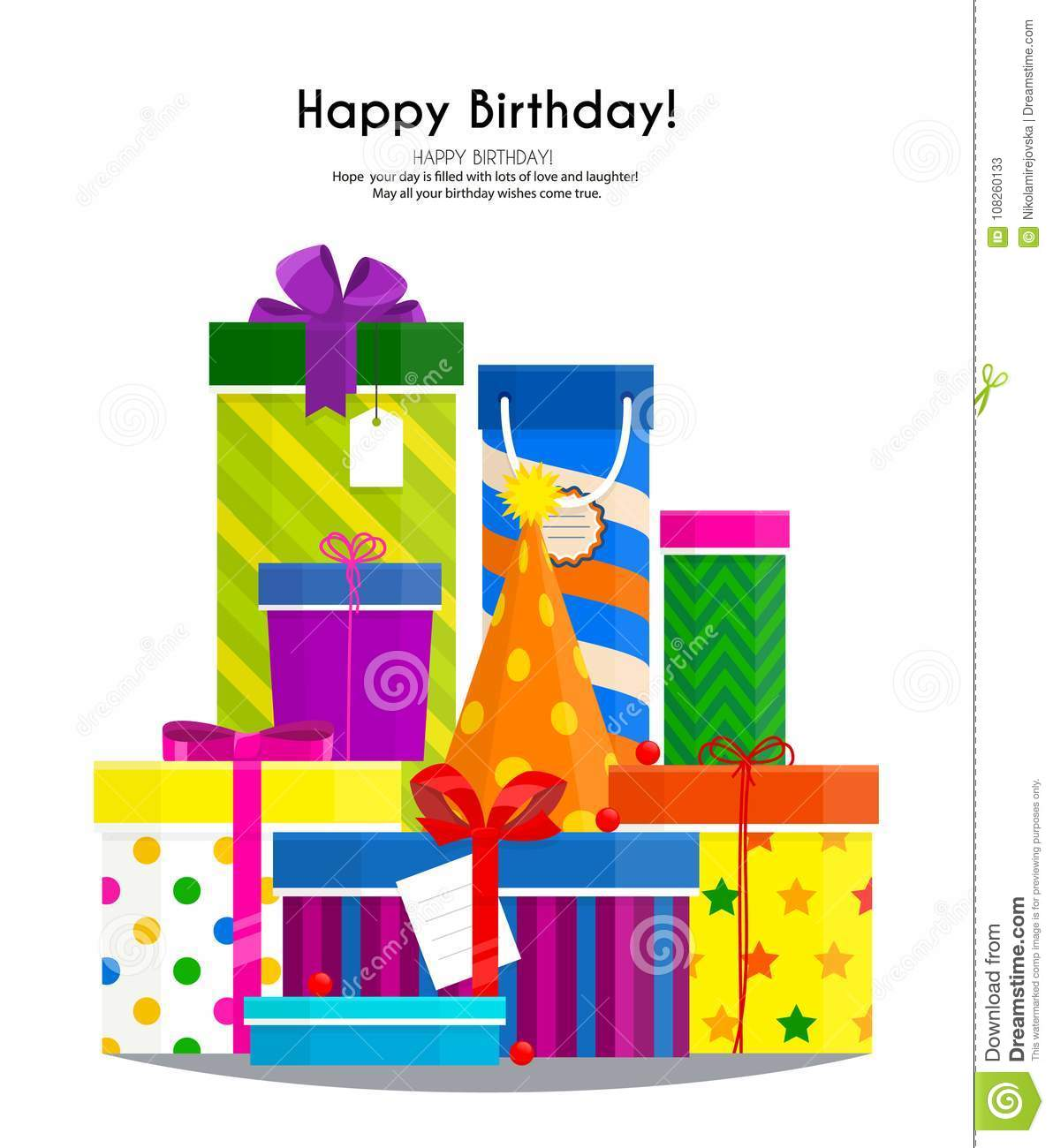 Pile Of Colorful Gift Boxes And Party Hat For Your Birthday Lots Of