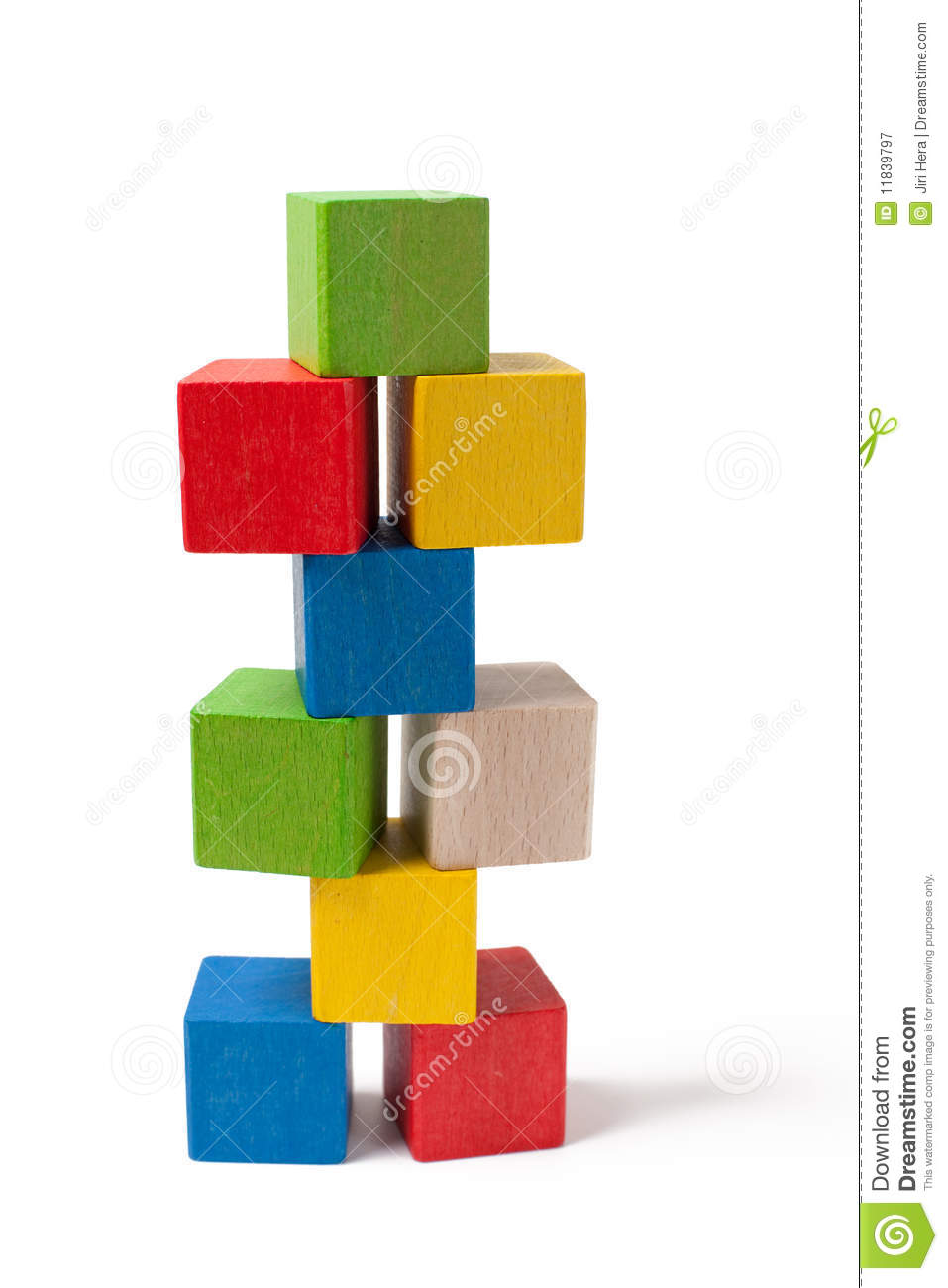 Pile of colorful wooden toy blocks royalty free stock