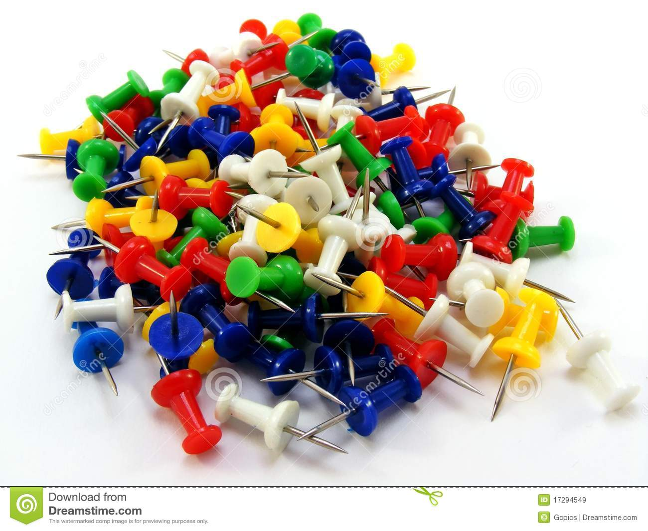 a pile of coloured thumbtacks stock image image of color needles