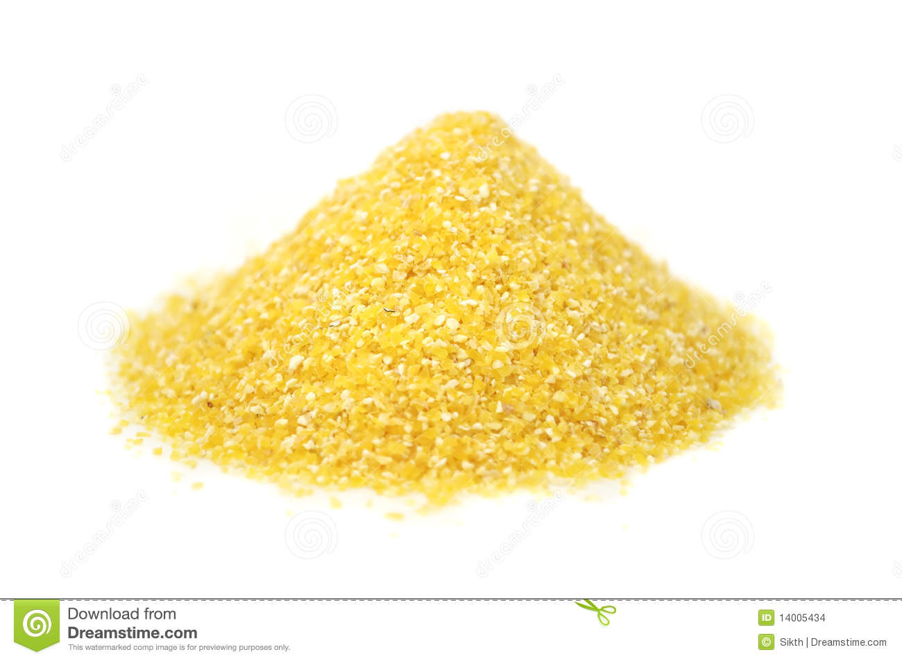 pile of corn grits isolated on a white background.