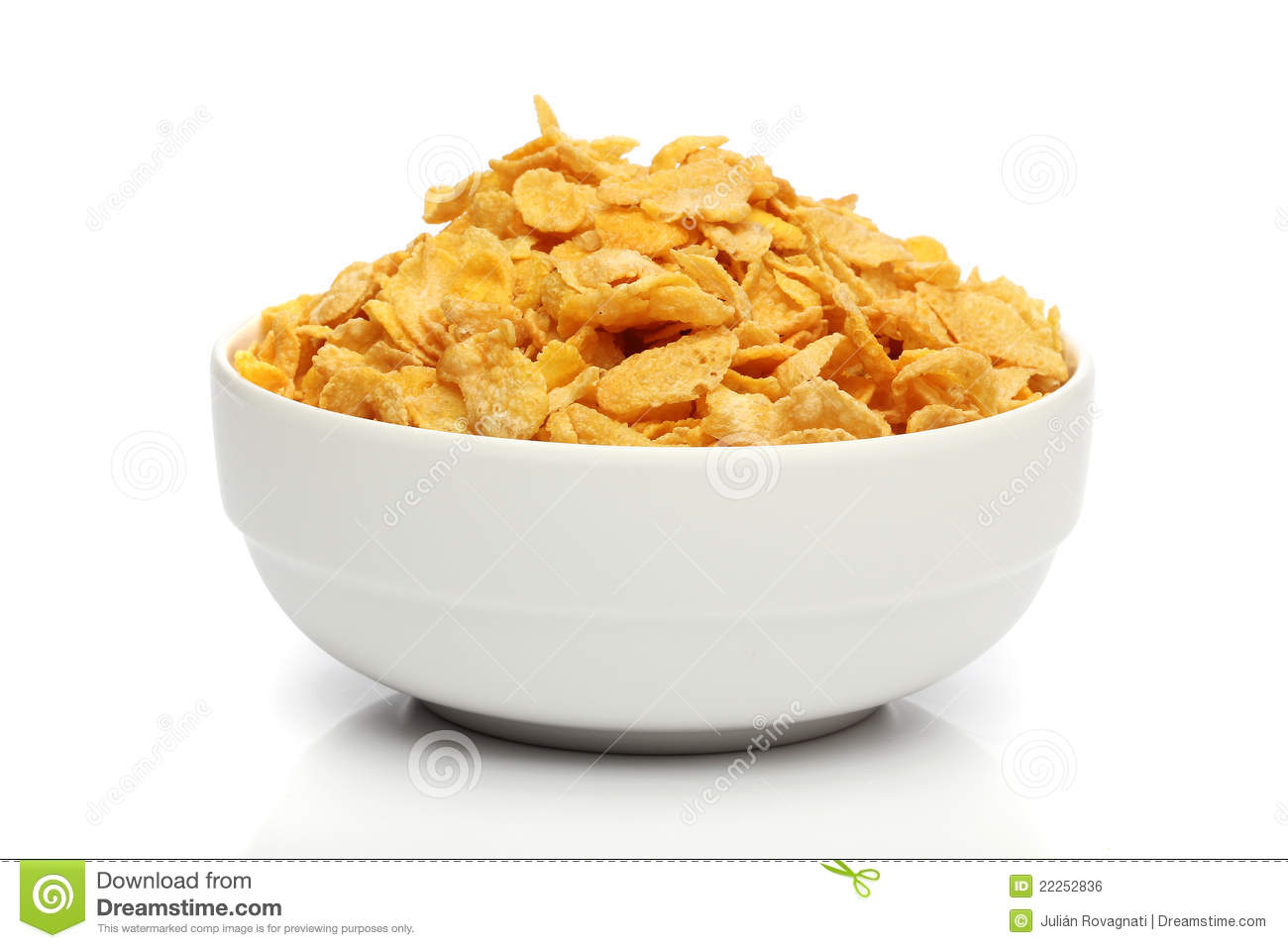 Pile of cornflakes on a bowl
