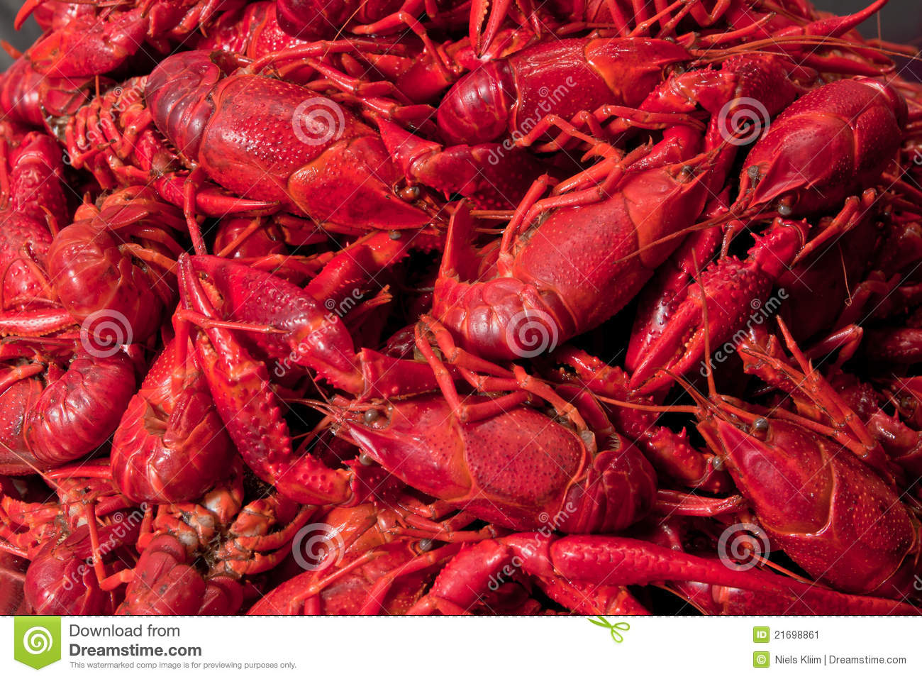 Bunch Close Cooked Crawfish
