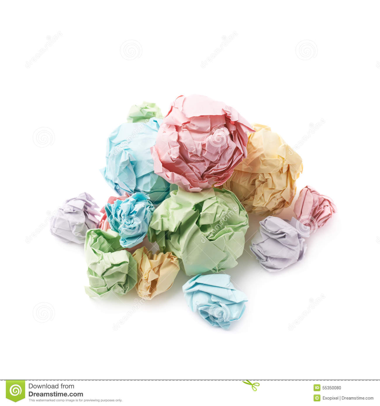 pile of crumpled paper balls isolated stock photo - image of paper