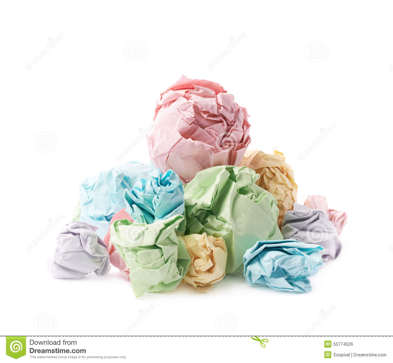 pile of crumpled paper balls isolated stock photo - image of
