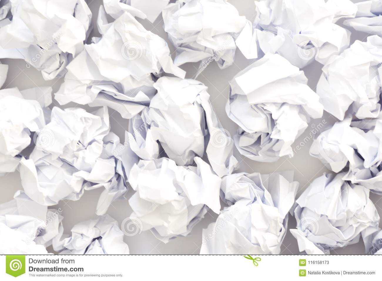 crumpled sheets of white paper ball. a lot of trash paper. white