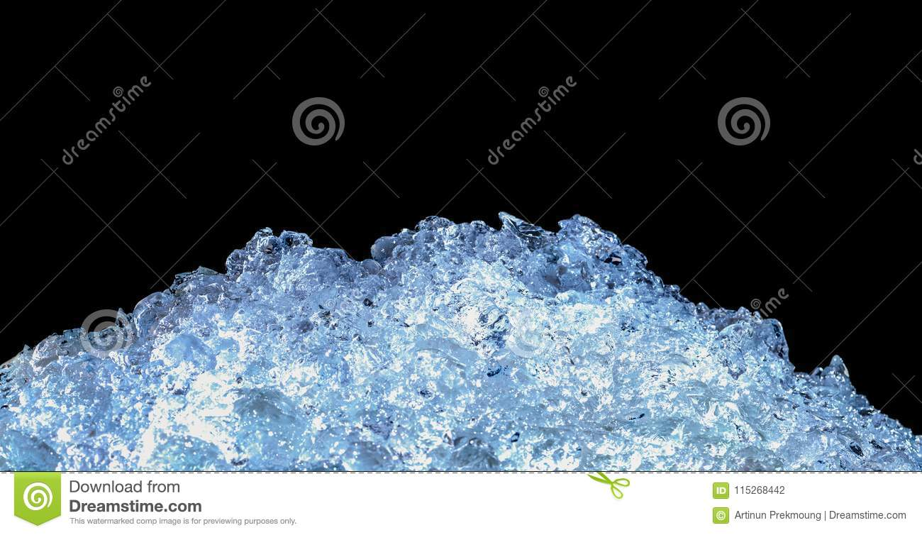 Pile of crushed ice cubes on dark background with copy space. Crushed ice cubes foreground for beverages, beer, whisky, fruit