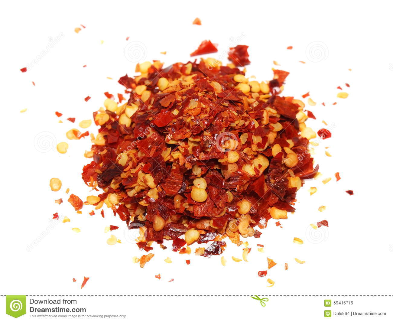 Pile crushed red pepper dried chili flakes and seeds for Chili flakes