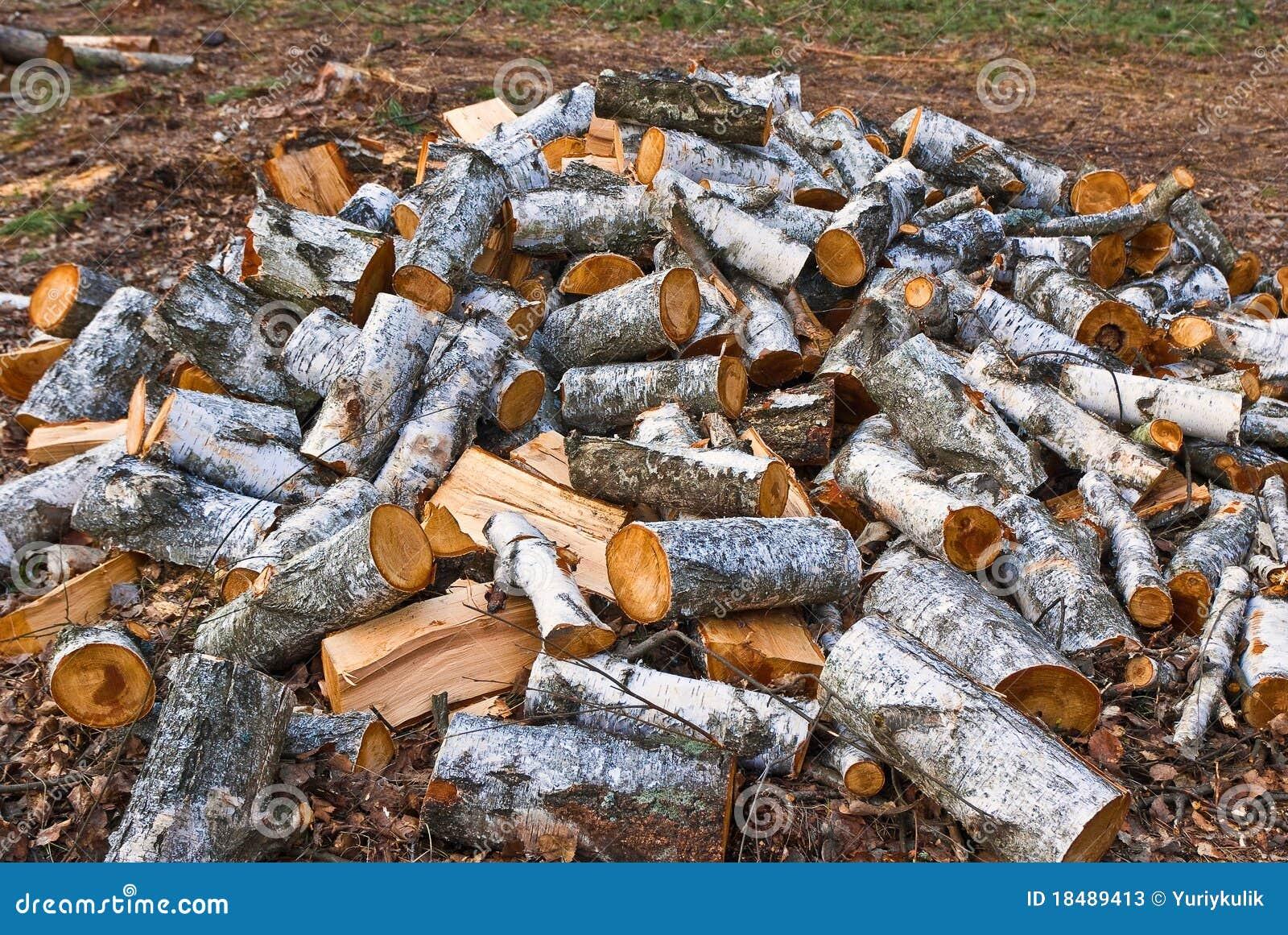 pile de bois de chauffage de bouleau photos stock image 18489413. Black Bedroom Furniture Sets. Home Design Ideas