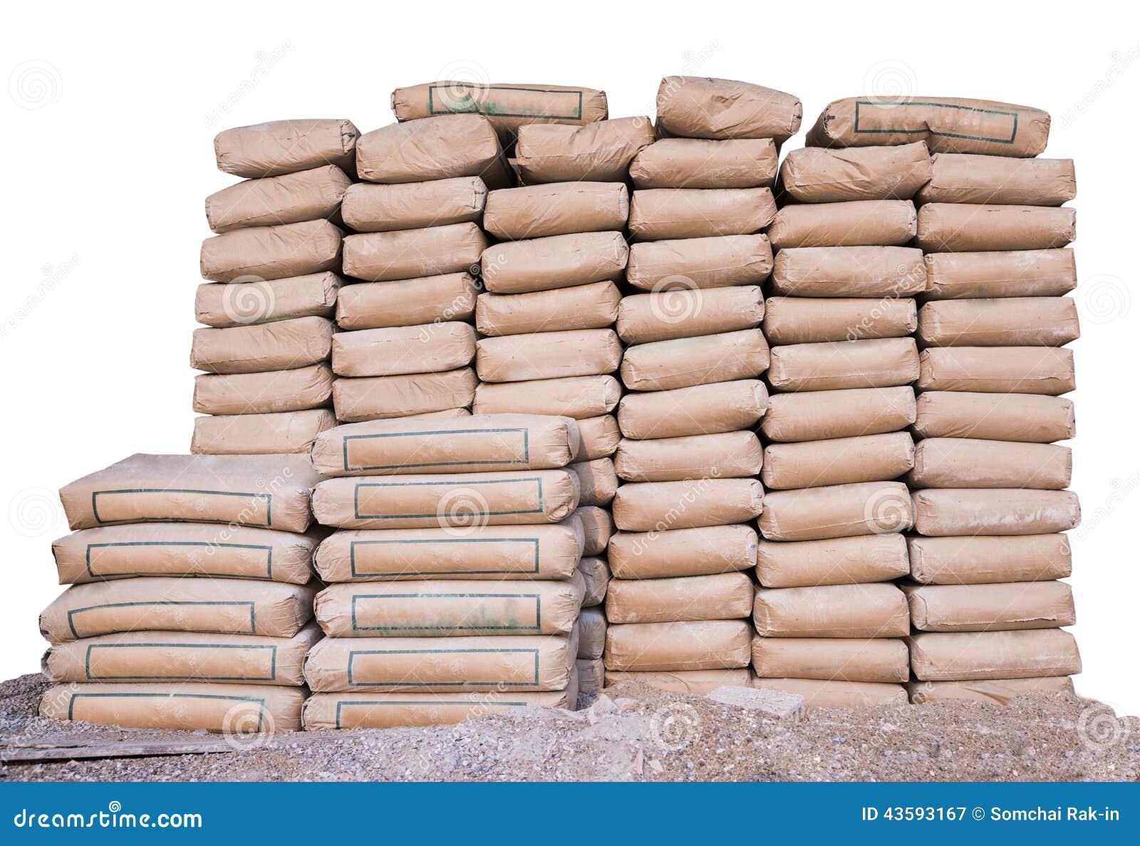 pile de ciment dans les sacs d 39 une mani re ordonn e empil e pour un projet de construction. Black Bedroom Furniture Sets. Home Design Ideas