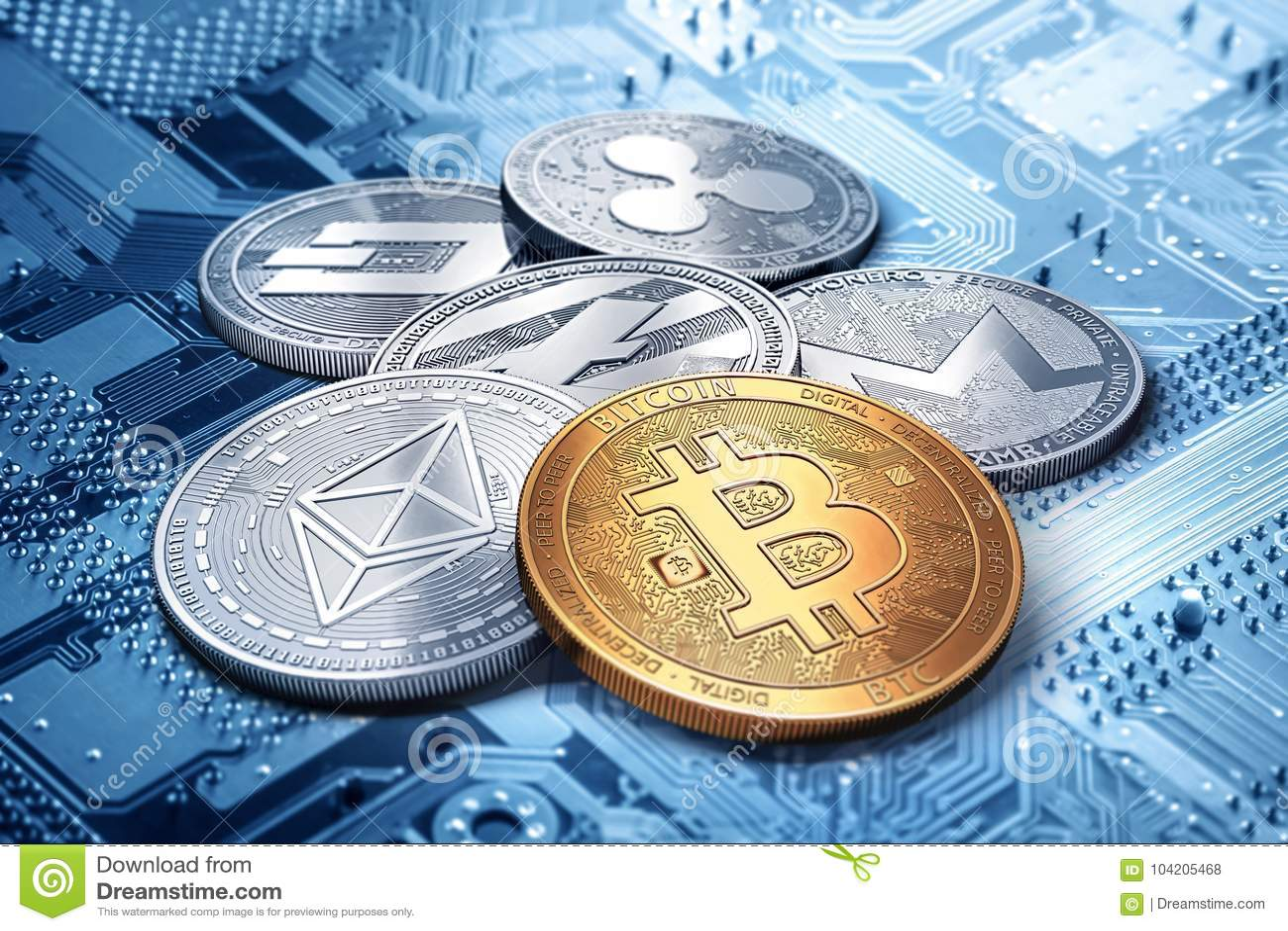 Pile de cryptocurrencies : bitcoin, ethereum, litecoin, monero, tiret, et pièce de monnaie d ondulation ensemble, rendu 3D