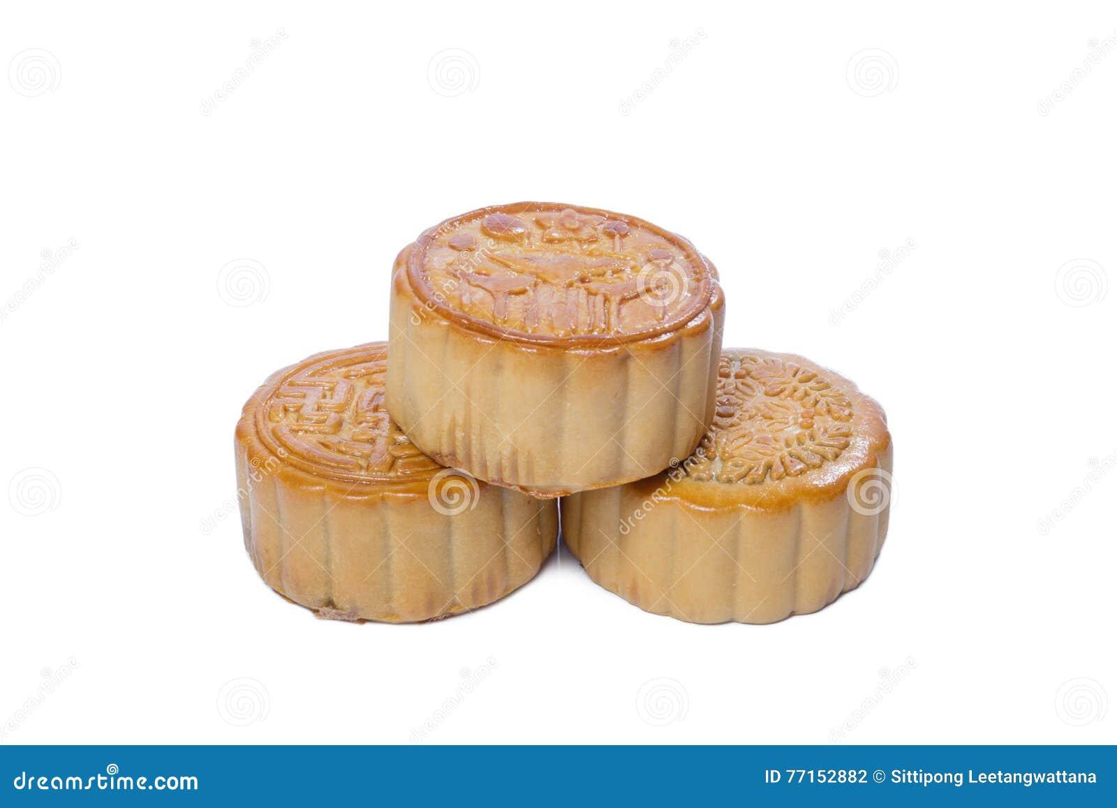 Pile de festival de Mi-automne de mooncake d isolement sur le blanc