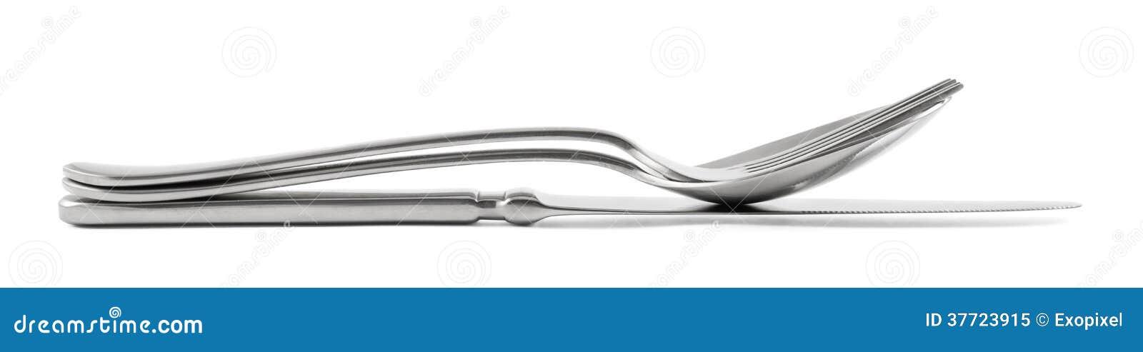 Pile de fourchette, de cuillère et de couteau