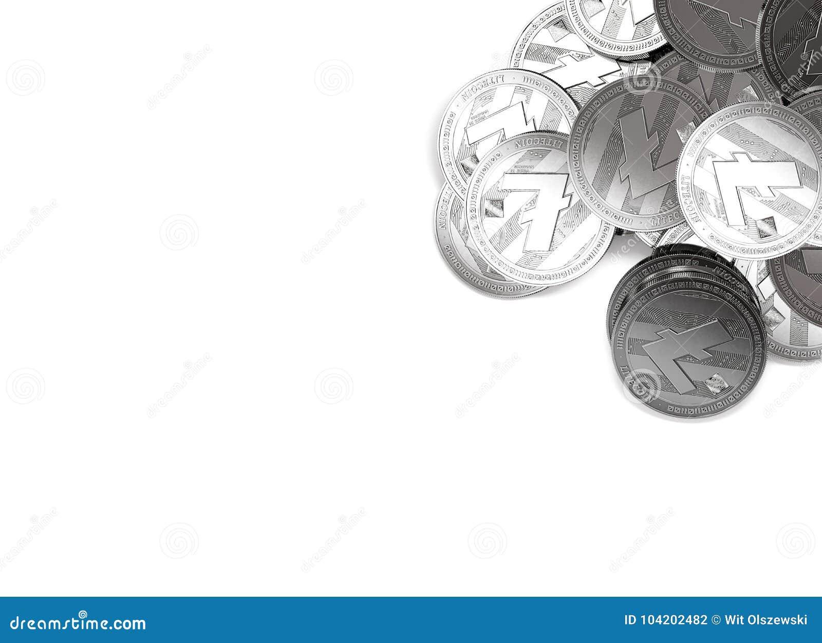 Pile de Litecoins argenté dans le coin haut droit d isolement sur le blanc et l espace de copie pour votre texte