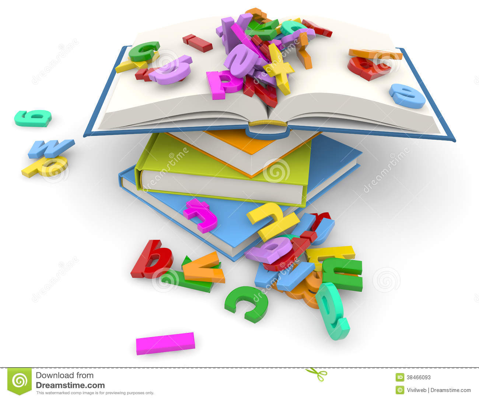 Pile de livres et de lettres colorées