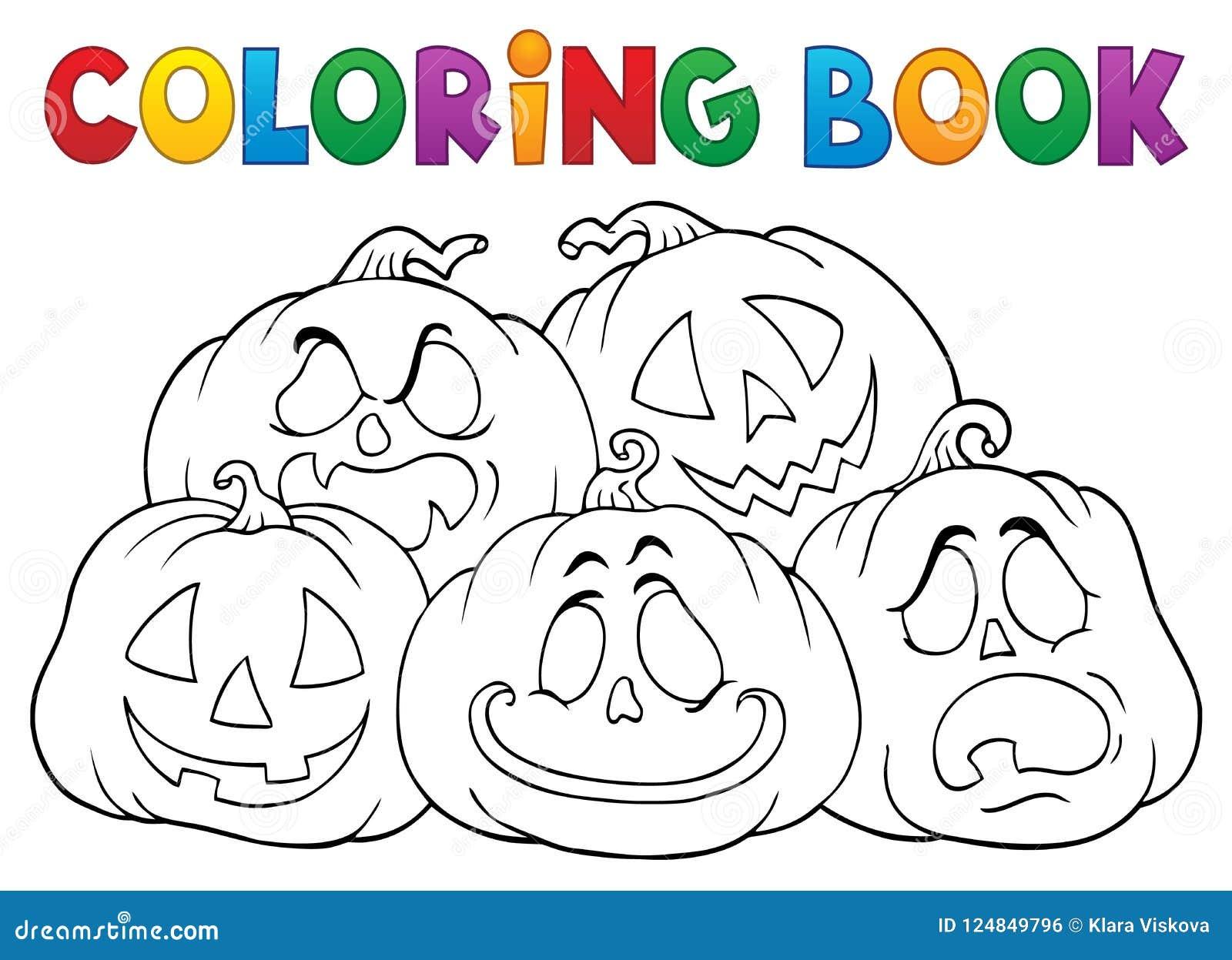 Pile 1 De Potirons De Halloween De Livre De Coloriage Illustration