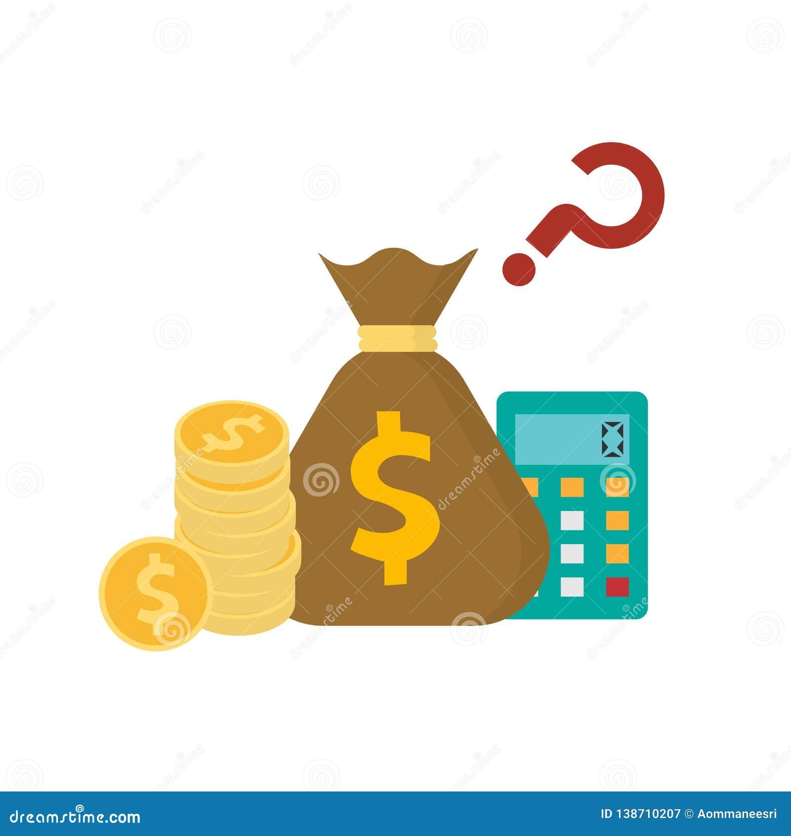 Pile de sac d or de pièce de monnaie et d argent avec l icône de calculatrice d isolement sur le fond blanc