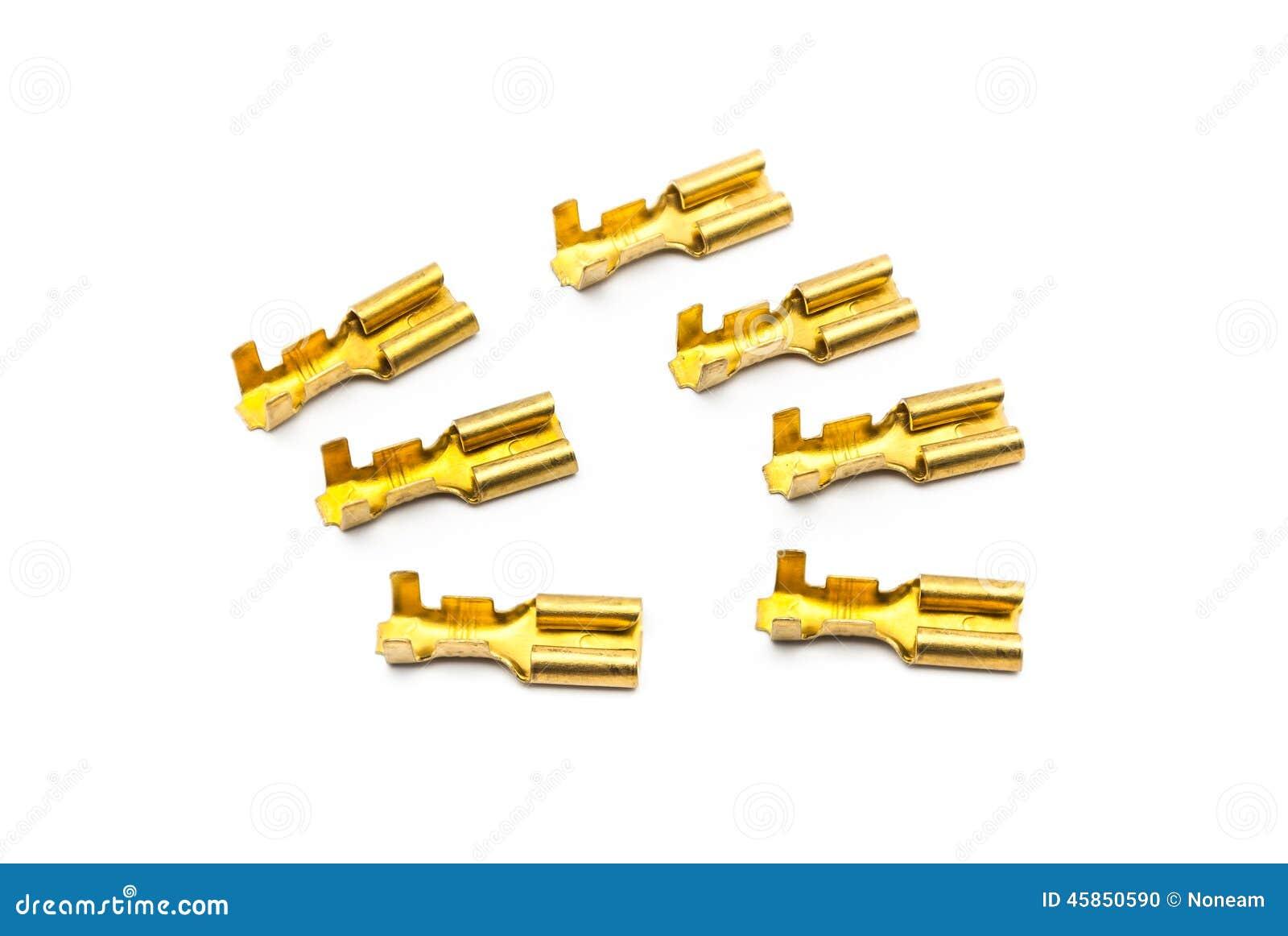 Pile des connecteurs de terminal de cuir embouti d or