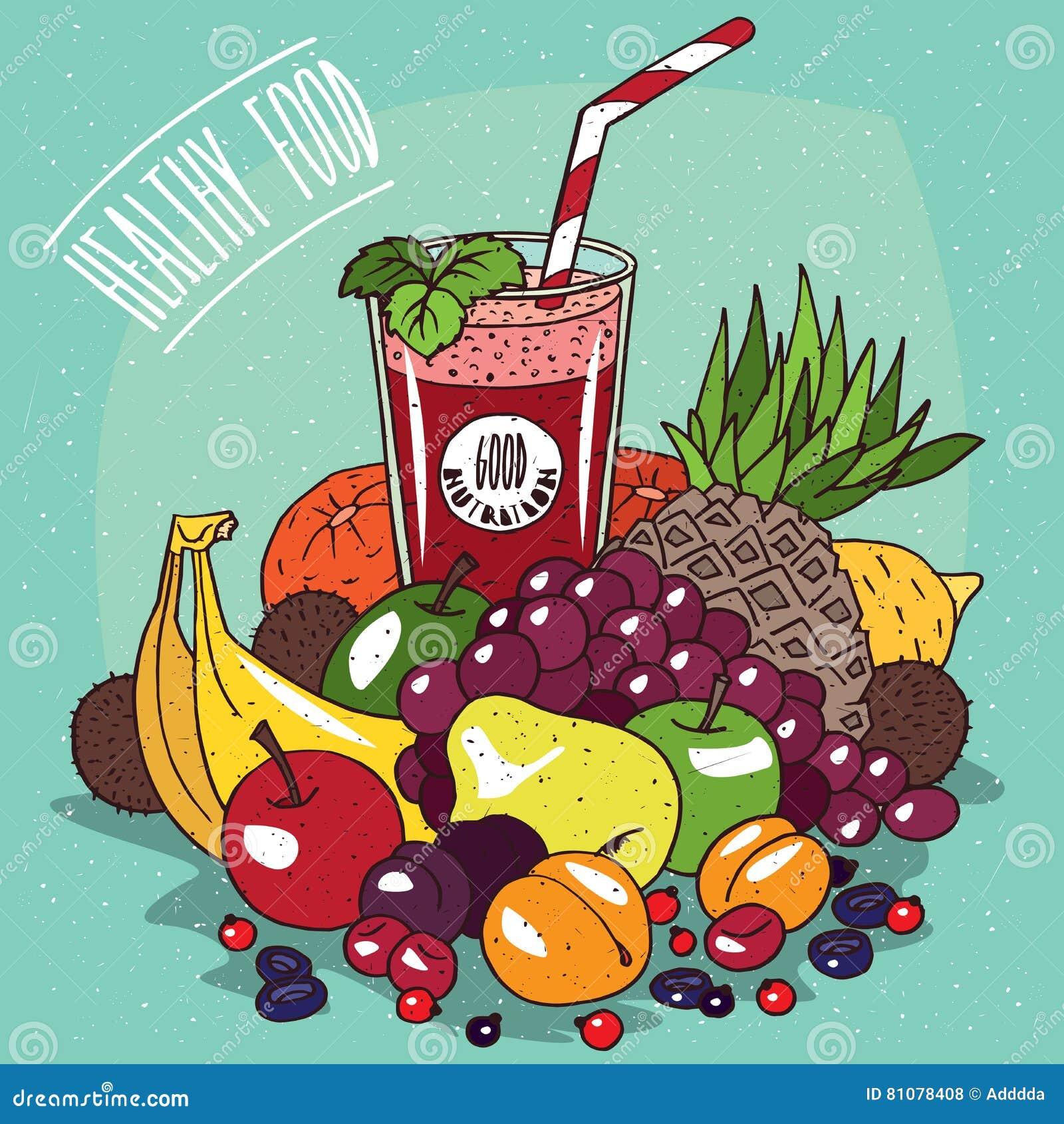 Pile Des Fruits Et Du Verre De Jus De Fruit Illustration De